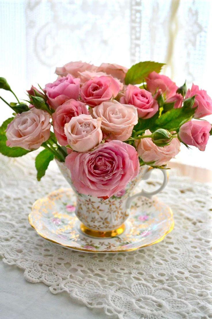 С днем рождения чайные розы открытки