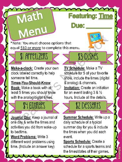 Teachers Notebook - I like the idea of creating a high school version of a menu for practice.