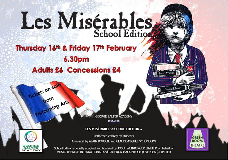 Fantastic news!  Les Mis tickets on sale from Thursday for 16-17th February.  £6.00 adults/£4.00 Children from the Performing Arts Office.