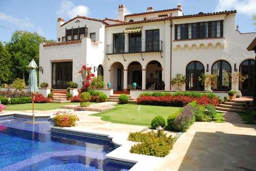 """Rear Facade of """"El Sueno"""" by Kevin A. Clark Inc Residential Architecture; Photo Credit Architectural Digest (Spanish Colonial Revival Estate)"""