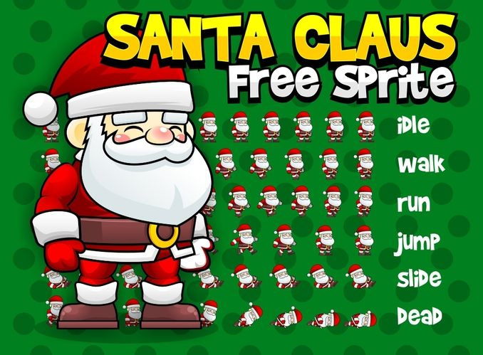Free Santa Claus character sprite for your winter and christmas-themed games. Suitable for the following game genres: adventure, shooter, action, platformer, and similar genres #2d #game #assets #sprite #character #santa #claus #christmas
