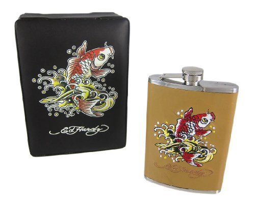 Ed Hardy Koi Fish Embroidered Tan Leather 8 Oz. Flask by Ed Hardy. $19.99. This cool 8 ounce capacity stainless steel hip flask is wrapped with tan leather, and embroidered in red, white, black and tan thread with Ed Hardy's iconic Koi Fish design. The flask is officially licensed by Don Ed Hardy Designs, and features a hinged cap, so you'll never have to worry about losing the cap. It comes in a brown leather display box and makes a great gift for Ed Hardy fans ...