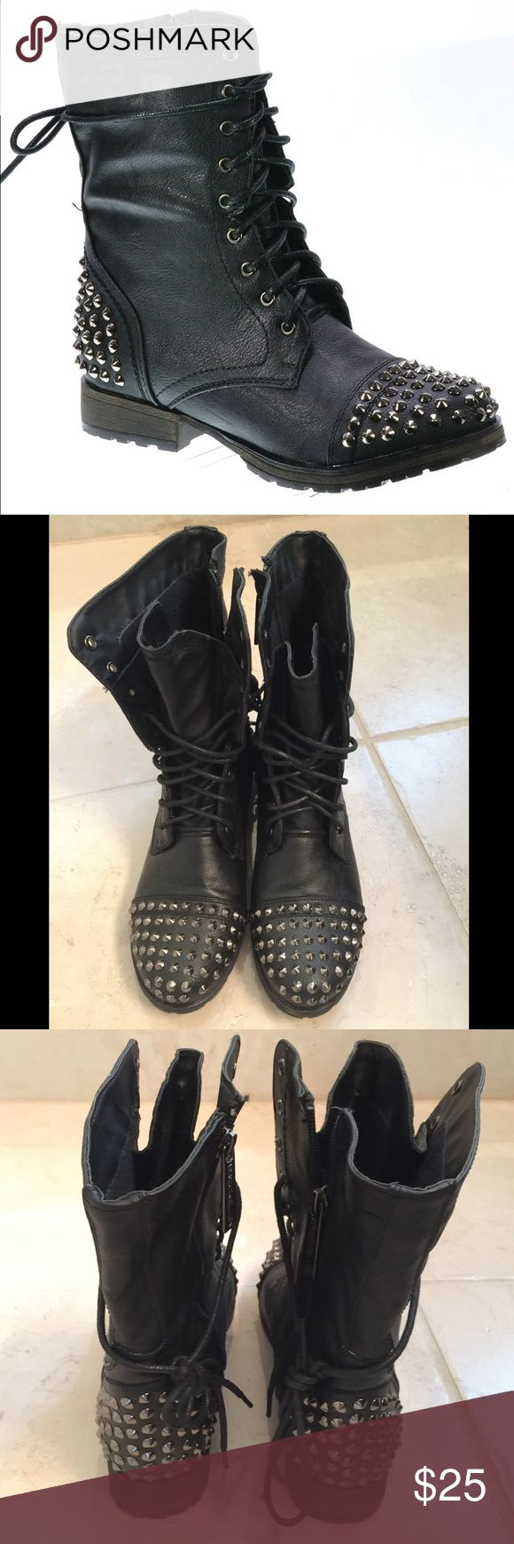 Breckelles Black Studded Combat Boots Worn about 4x, good condition, smoke free home, no marks or stains noted. Super cute/stylish pair of combat boots that can be dressed up or paired casually. No studs missing. Breckelles Shoes Combat & Moto Boots