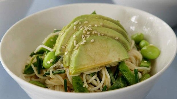 Jane and Jeremy Strodes' Japanese soba noodles with avocado and sesame salad.