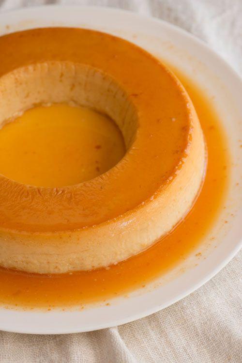 Flan de queso y mango