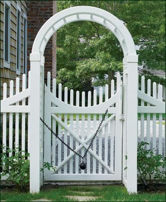 3' Vinyl Spindle Top Arbor - Curves can be captivating, as you can see in this Spindle Top arbor with Freeport Chestnut Hill walk gate. The arbor and gate curve to form an eye-catching circle and the gate closes securely every time thanks to the historical Williamsburg ball-and-chain.