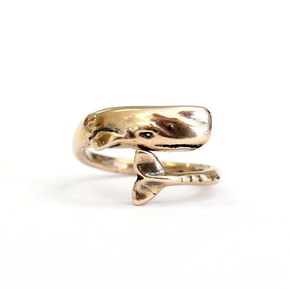 Moby Dick Whale Ring in Solid Bronze Sperm Whale Ring 327 by mrd74