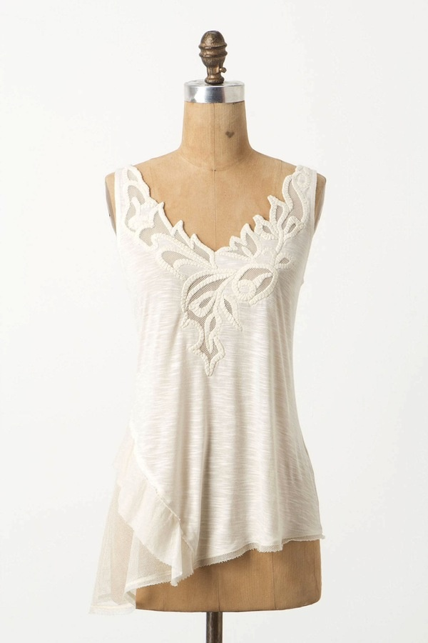 [Oblique Ruffle Tank by Anthropologie]