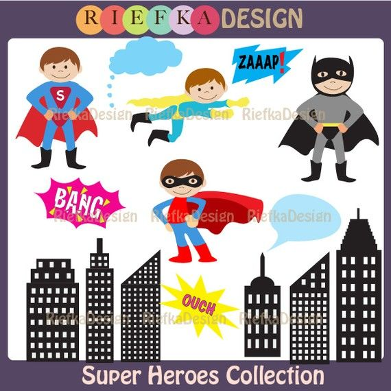 Super Heroes Clipart Set  Boy Super Heroes Clipart by riefka, $5.00