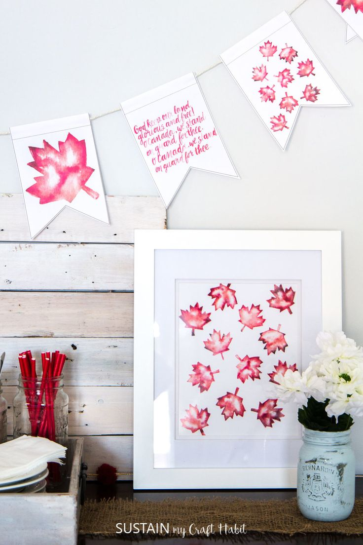 Grab this free printable O Canada banner and maple leaf art! Super-easy DIY Canada Day decorating idea.