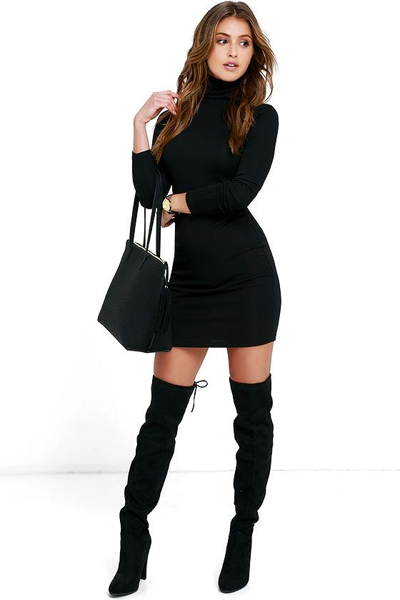 You'll be feeling fine in no time now that you've got the Phenomenal Feeling Black Long Sleeve Bodycon Dress! Stretchy ribbed knit flaunts your figure as it forms a classic turtleneck atop this long sleeve bodycon dress.
