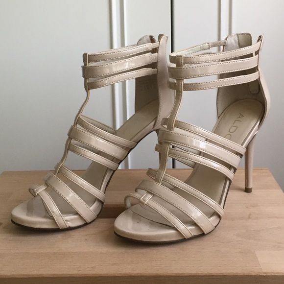 Aldo nude pink strappy heels Aldo nude pink strappy heels, worn once to a wedding. No scratches or stains in mint condition ALDO Shoes Heels
