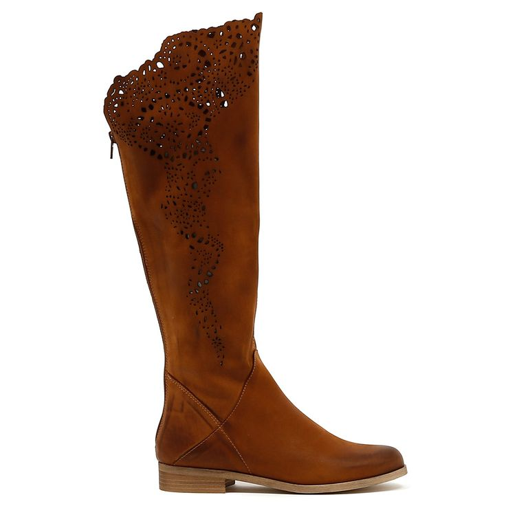 184V by Beltrami.  This soft leather knee high boot is both eyecatching and effortless. The laser cut detail makes it stand out in the crowd, yet you can wear them day and night, no effort required. Capture anyone's attention and pair these stunners with tucked in leggings and a beautifully cut blazer.  2.5cm heel. Leather upper, leather lining. Manmade sole. Made in Italy.