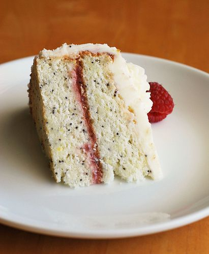 Lemon Poppy Seed Cake with Raspberry Filling - I use this as my birthday cake every year! So good!