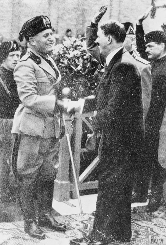 Mussolini's rise to power 1922 - 1940: Mussolini and Hitler pictured together during their first meeting in Venice.