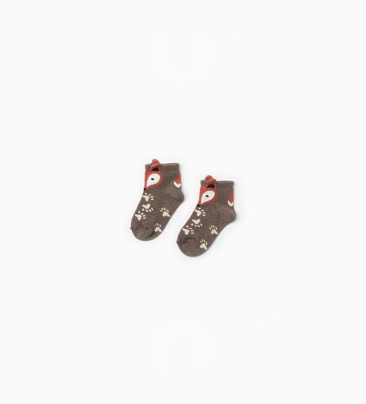 Lot de deuxpaires de chaussettes ornées de renards-Sous-vêtements et pyjamas-Mini   0-12mois-ENFANTS   ZARA Belgique