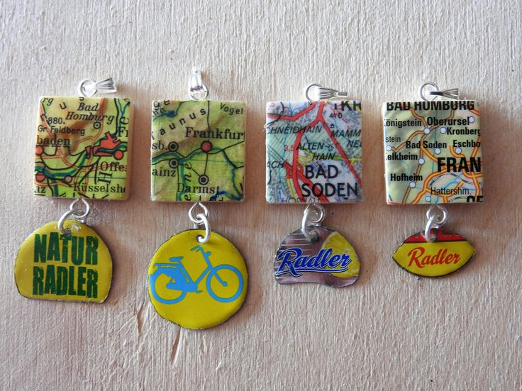 Pendants from old maps and bottle caps by Recycling-art