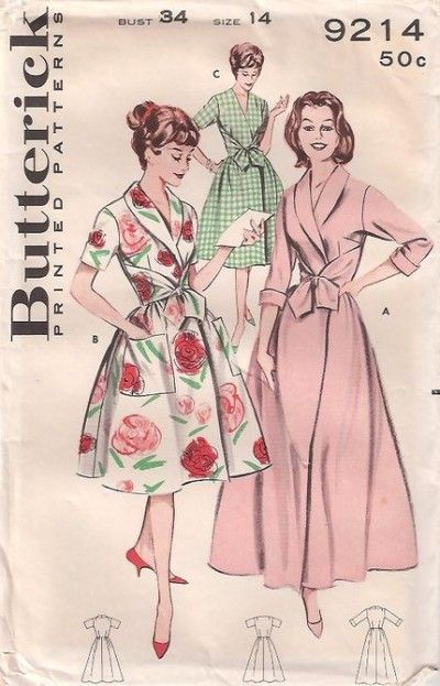 Butterick 9214, 1950s housecoat.. Kind of like A but with long sleeves and a hood