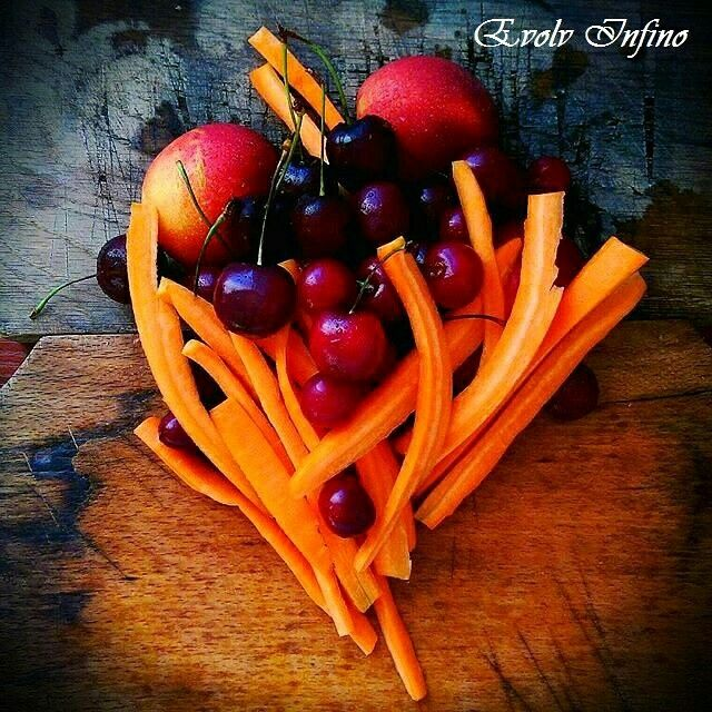 Today's Snack - Cherries Peaches & Carrots - Rich in Fiber and Vitamins !