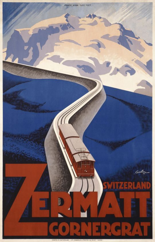 "Zermatt Gornergrat, Switzerland (by De Coulon Eric / 1928) Extremely rare Art Deco poster beautifully printed in stone-lithography for the Zermatt-Gornergrat railway showing the ""Mont-Rose"" in front of the ""Matterhorn"" (The Cervin in French). In this poster Eric De Coulon used the rules of the Art Deco: geometric forms, dynamism, structure, vivid and contrasting colours. His choice of the two colours, blue and red, in stylised forms underlines the strength of the composition. A Master piece."