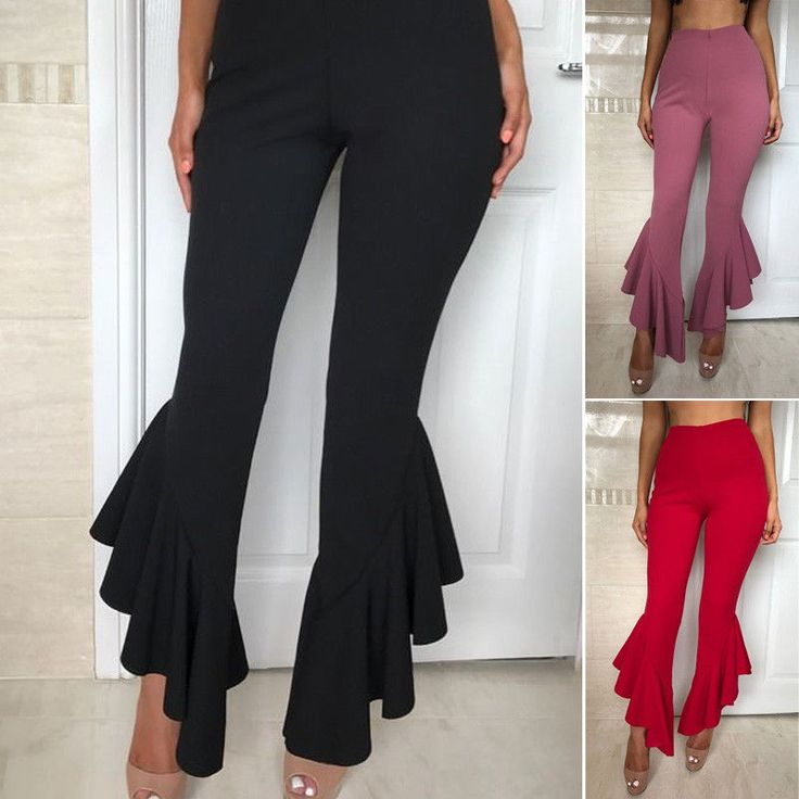 Women Casual Retro Boho High Waist Long Trousers Ruffles Flare Bell Bottom Pants #Unbranded #CasualPants