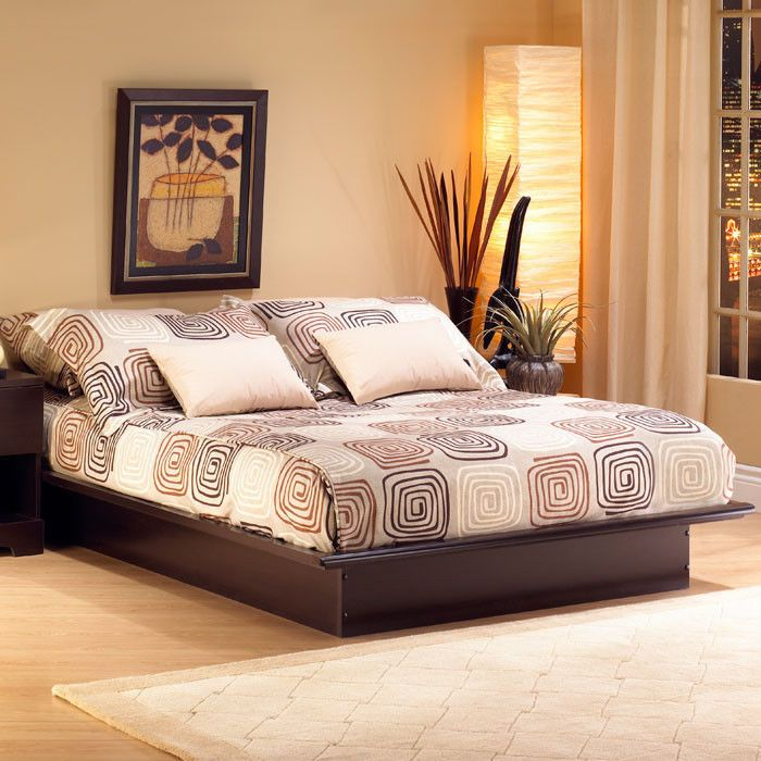 platform bed frame full queen king size sizes brown color bedroom south shore
