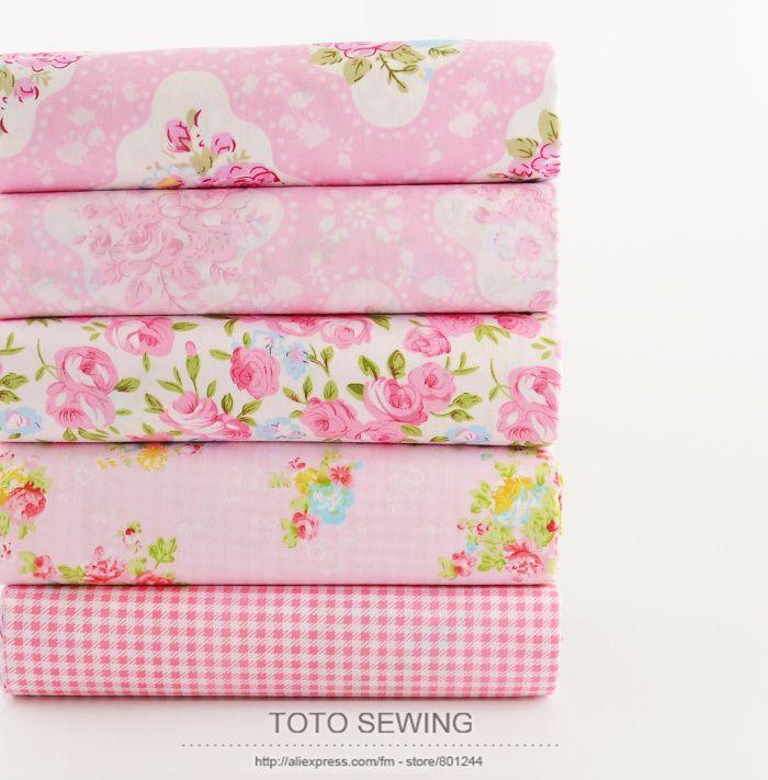 2015 New 5PCS  40cmx50cm pink flower plaid Cotton fabric pre-cut  bundle quilting patchwork clothes bedding telas tissus tecido