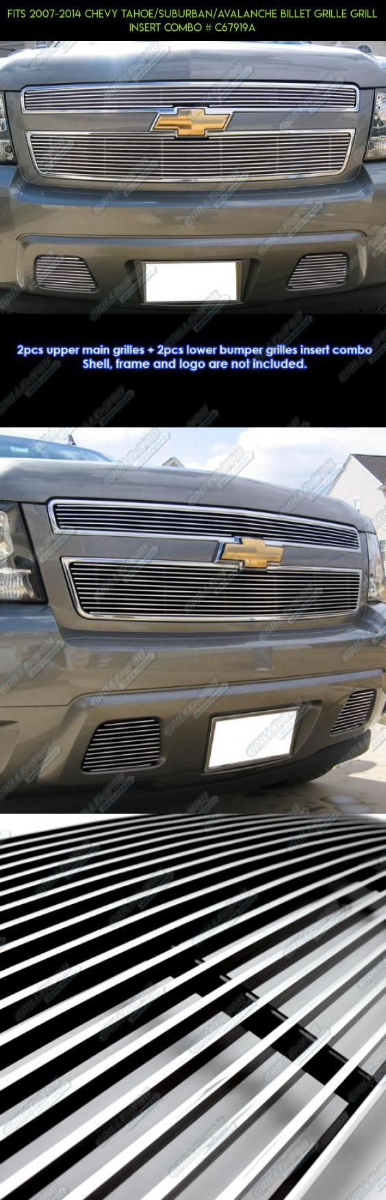 Fits 2007 2014 chevy tahoe suburban avalanche billet grille grill insert combo
