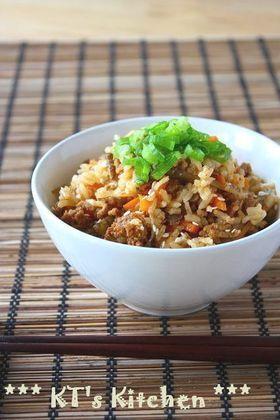 ひき肉とゴボウのピリ辛炊き込みご飯 #takikomigohan