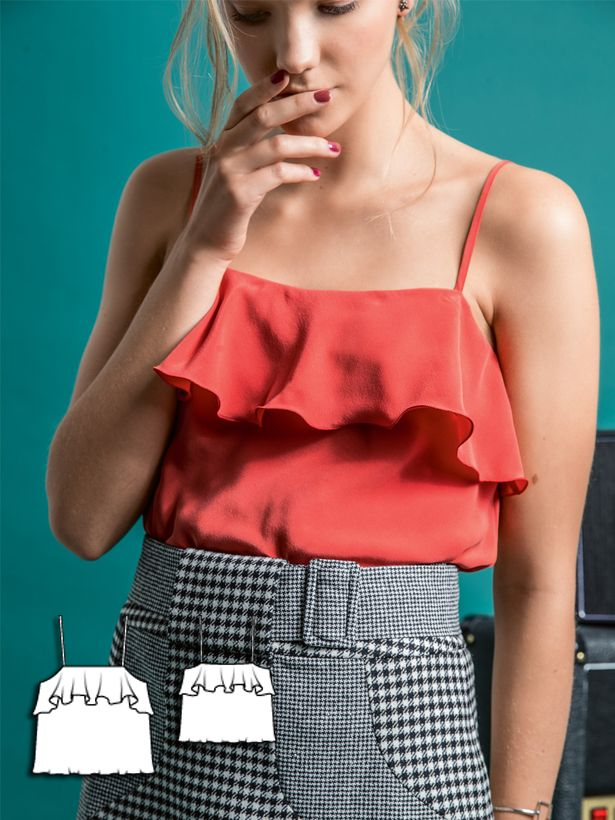 Whether you pair it with a pencil skirt or jeans, this ruffle tank has a lingerie style and can be made in several different colors. #burdastyle #womens #sewing #pattern #sew #diy