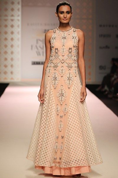 Gowns, Clothing, Carma, Peach overlayered net embellished gown ,  ,