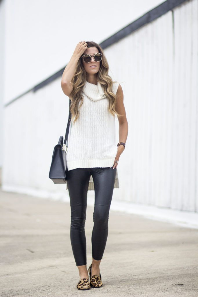 But everything in this look is absolutely making the list. These coated leggings are perfect for fall and add a bit of edge to any outfit, all white being so comfortable. This sleeveless turtleneck is perfect for layering and this transitional weather we are currently in (and will probably be in all winter if we head south).