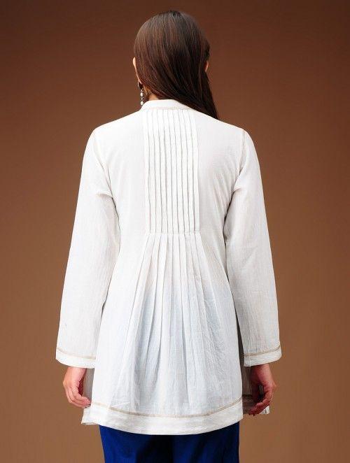 Ivory Pleated Yoke Flared Cotton Tunic