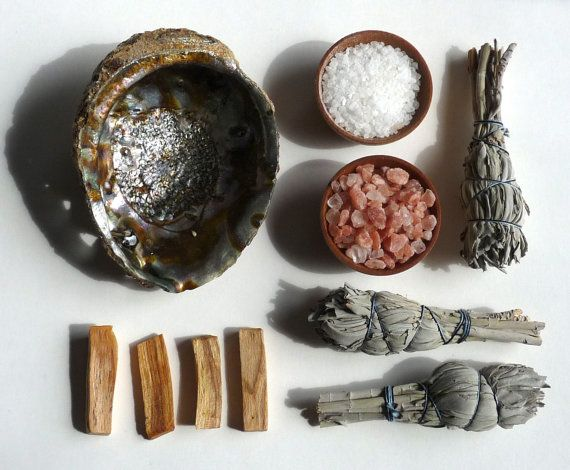CLEARING Set -- palo santo wood, sage, abalone shell, sea salt - clearing tools, house warming on Etsy, $42.00