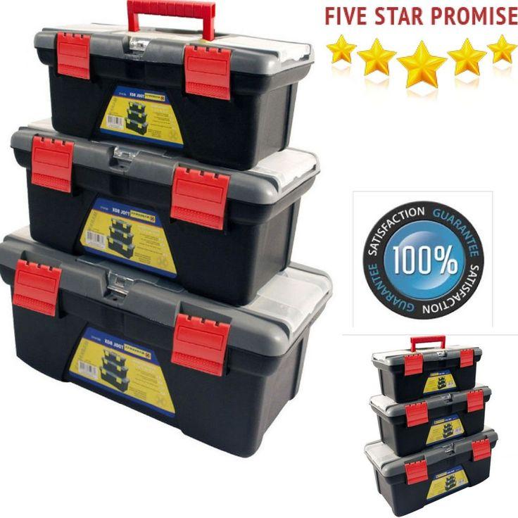 Toolbox Bag 3pc Storage Tool Box DIY Plastic Chest Set Handle Tray & Compartment #Marksman