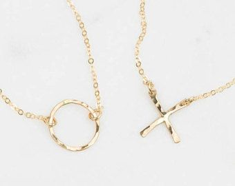 Best Friend Necklaces, Sister Necklaces, Mother-Daughter Necklaces / XO Necklace Set in 14k Gold Fill or Sterling Silver Layered Long LS351