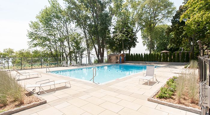 Beautiful outdoor pool at The Lakeshore Club, 5220 Lakeshore Rd., Burlington. To book a viewing or for more information please visit www.clvgroup.com