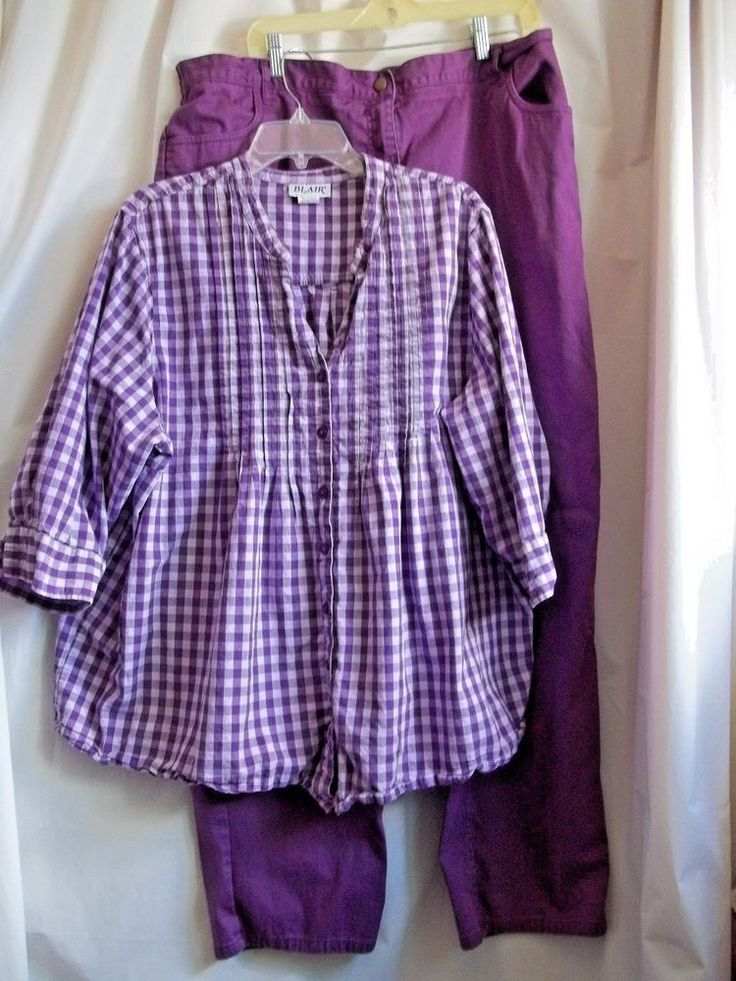 Woman's Matching Jeans and Blouse Purple Size 2x #Blair #ButtonDownShirt #Informal