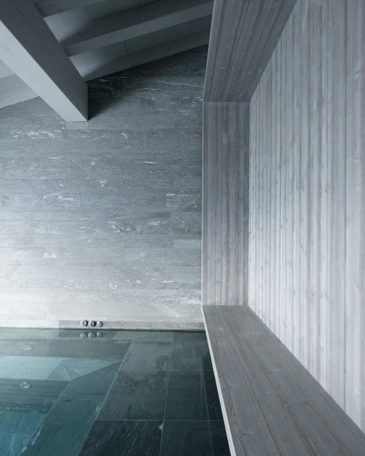 Interior swimming pool inside the Chalet Beranger by Noe Duchaufour-Lawrance.