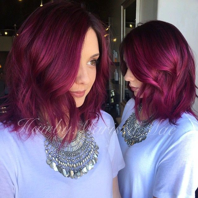 Red bob cut with soft waves