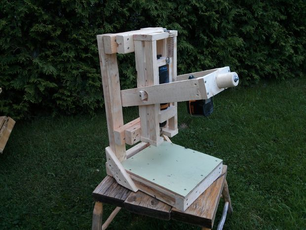 The Wooden Cordless Drill Press   Cordless drill, Drill press and Woodworking