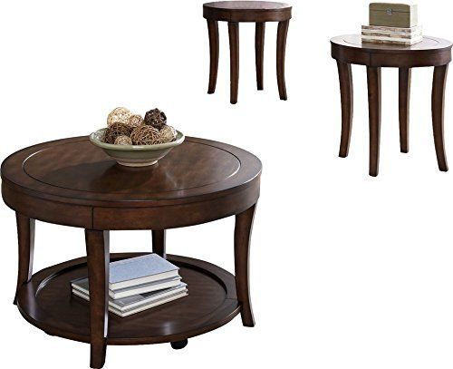 Three Piece Coffee Table And Two End Tables Set Featuring Saber