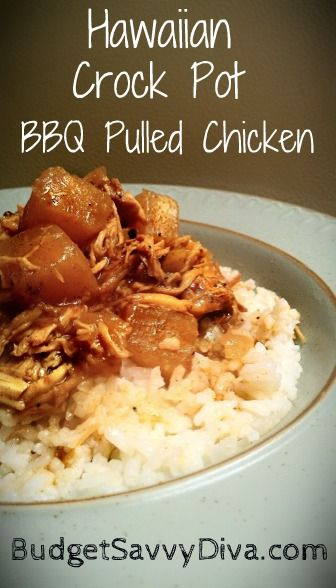 Hawaiian Crock Pot BBQ Pulled Chicken -- garlic, pepper, bbq sauce, chicken,