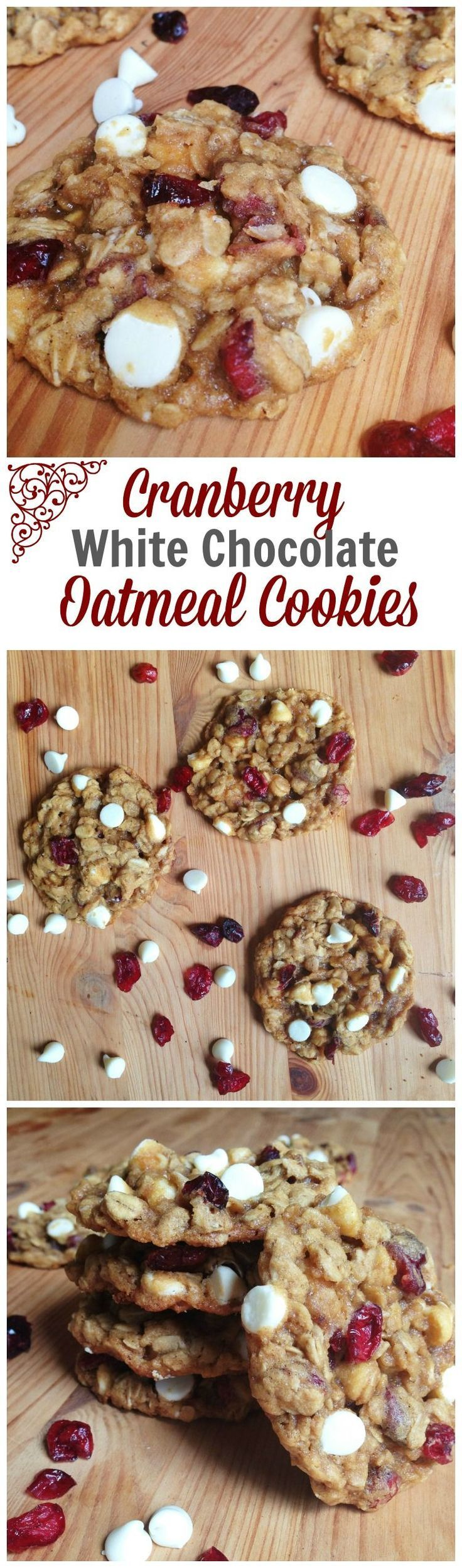 Cranberry White Chocolate Oatmeal Cookies. Cranberries and white chocolate chips | oatmeal cranberry cookies | oatmeal cookie recipe #cranberry #oatmealcookies #cookierecipe #whitechocolate #whitechocolatecranberry