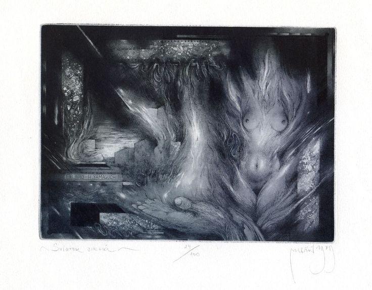 Sviatok - ARTIST: Zdenek Bugan - TECHNIQUE: etching - PLATE SIZE: 10.5 x 14.5 cm. - PAPER SIZE: 15.0 X 19.5 cm