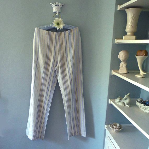 Striped Linen Pants Women's Linen Pants Linen by TheVelvetPrincess. Not my size but this is the search image.