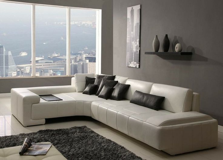 Modern Leather Sectional Sofa W/ Tray Tosh Furniture TOS FY805