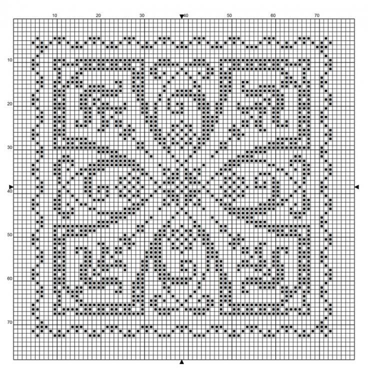 Square 40   Free chart for cross-stitch, filet crochet   gancedo.eu