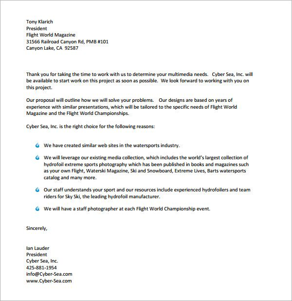 Proposal Acceptance Letter Proposal Letter To A Client Sample