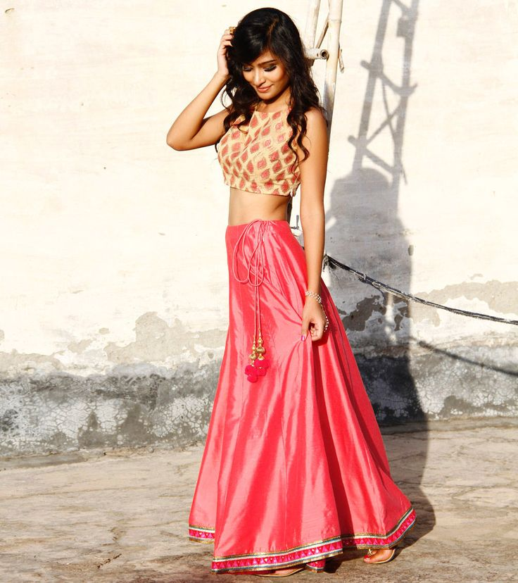 Pink Cotton Silk Skirt With Gold Chanderi Brocade Crop Top